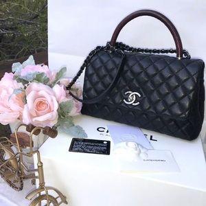 Chanel Coco Handle Black Caviar Red Exotic Lizard